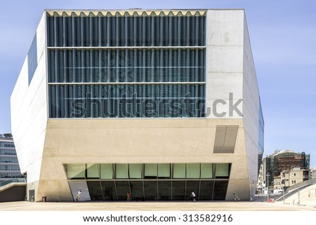 PORTO, PORTUGAL - JULY 05, 2015: Exterior of Casa da Musica - House of Music Concert Hall, first building in Portugal dedicated to music, designed by Rem Koolhaas in Porto, Portugal on JULY 05, 2015.