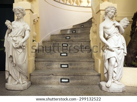PORTO, PORTUGAL - JULY 04, 2015: The Majestic, historical coffee yard stairs detail, first opened on December 17, 1921, it´s located in Santa Catarina, On July 04, 2015 in Porto, Portugal. - stock photo