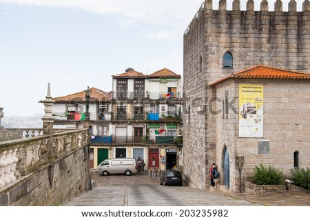 PORTO, PORTUGAL - JUN 21, 2014:  Architecture of a traditional small quarter of Porto, Portugal. Porto is the second largest city in Portugal and it was called the European Culture Capital in 2001