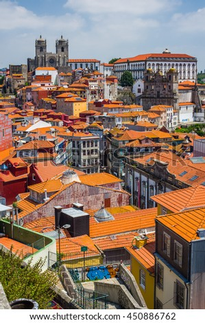 Porto, Portugal - June 24, 2016. View of downtown of Porto city with Se cathedral and Igreja de Sao Lourenco, Grilos in background. Portugal. - stock photo