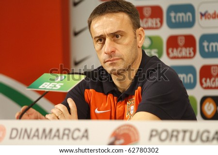 PORTO, PORTUGAL - OCTOBER 8: Paulo Bento  (POR) makes his debut as the National Team's coach with a win over Denmark in the Euro 2012 Group Stage Qualifying match on October 8, 2010 in Porto, Portugal - stock photo