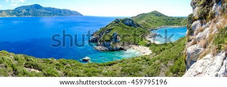 Porto Timoni panorama. The most famous and beautifull beach in Corfu island, Greece. Important tourist attraction. - stock photo