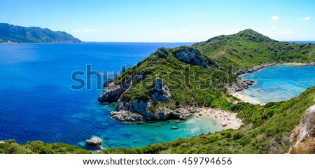 Porto Timoni, the best beach in Corfu island, Greece. Important tourist attraction. - stock photo