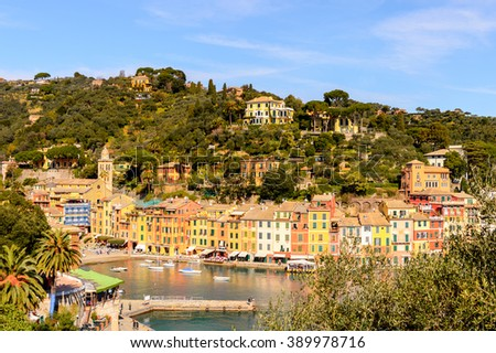 PORTOFINO, ITALY - MAR 7, 2015: Aerial view of  Portofino, Italy. Portofino is a resort famous for its picturesque harbour