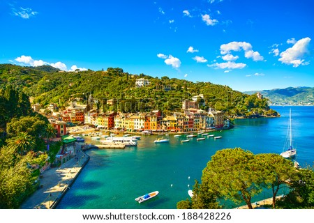 Portofino luxury landmark aerial panoramic view. Village and yacht in little bay harbor. Liguria, Italy - stock photo