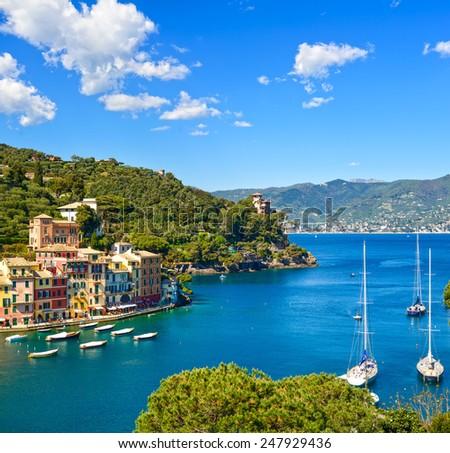 Portofino luxury landmark aerial panoramic view. Village and yacht in little bay harbor. Liguria, Italy - stock photo