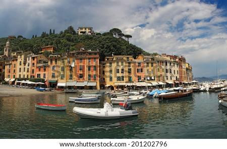 Portofino village, near Rapallo Genova, Ligurian Coast, Italy  - stock photo