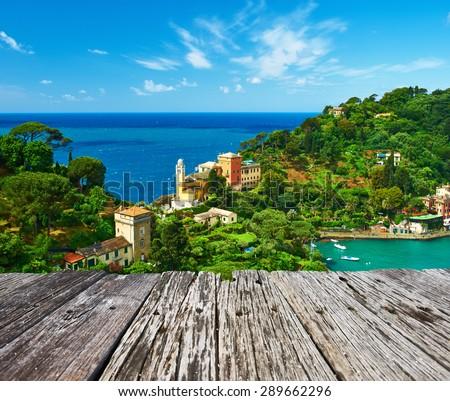 Portofino village on Ligurian coast in Italy - stock photo