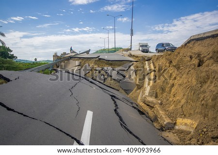 Portoviejo, Ecuador - April, 18, 2016: Cracked road after 7.8 earthquake
