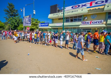 Portoviejo, Ecuador - April, 18, 2016: People in line to get some water after 7.8 earthquake - stock photo