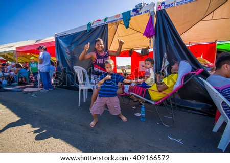 Portoviejo, Ecuador - April, 18, 2016: Tents for the refugees after 7.8 earthquake.