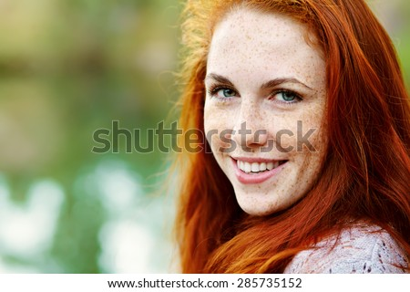 stock photo portrait af a beautiful redhead woman outdoors stylish romantic young girl on a walk in the park 285735152