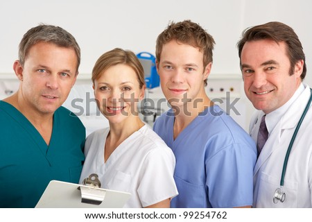 Portrait American medical team on hospital ward - stock photo