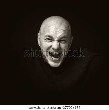 Portrait Angry Displeased Adult Man Screaming Isolated On Gray Wall Background Negative Human Emotion