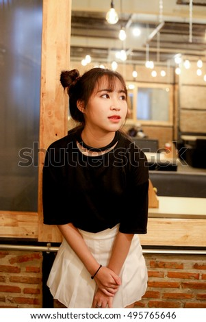 Portrait asia (china) girl with perfect in coffee shop