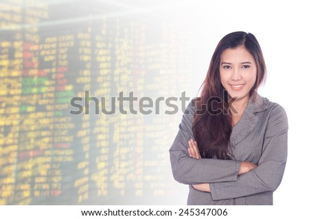 portrait asian businesswomen 20-30 year old has stock background .Mixed Asian / Caucasian businesswoman.Positive emotion - stock photo