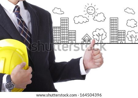 Portrait Asian Engineer with work concept building home and town