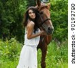 portrait attractive woman full length next horse - stock photo