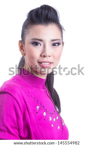 Portrait beautiful Asian Girl in studio - stock photo