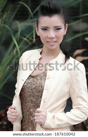 Portrait beautiful Asian Girl in the outside of nature. - stock photo