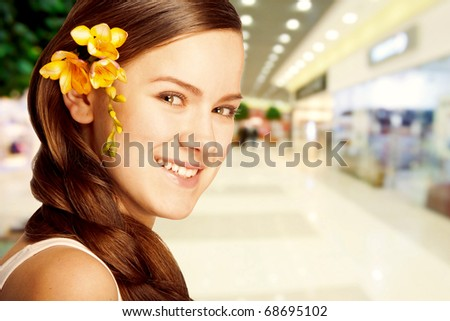 Portrait Beautiful girl with flower