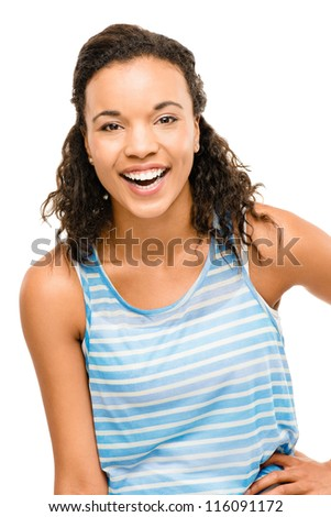 Portrait Beautiful mixed race Woman Smiling isolated on white background - stock photo