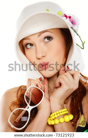 Portrait beautiful redheaded girl in summer style - stock photo