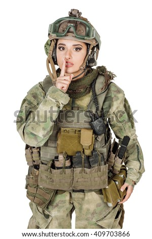 Portrait beautiful soldier or private military contractor silent quiet gesture with finger. war, army, weapon, technology and people concept. Image on a white background. - stock photo
