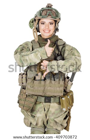 Portrait beautiful soldier or private military contractor. war, army, weapon, technology and people concept. Image on a white background. - stock photo