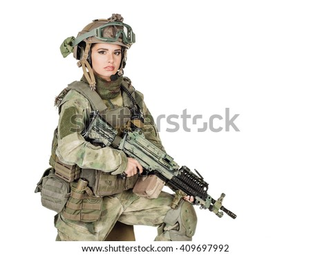 Portrait beautiful soldier or private military contractor with rifle. war, army, weapon, technology and people concept. Image on a white background. - stock photo
