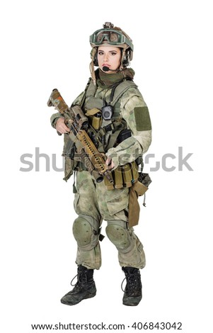 Portrait beautiful woman soldier or private military contractor with rifle. war, army, weapon, technology and people concept. Image on a white background. - stock photo