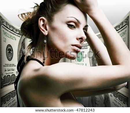 Portrait beautiful young woman. Money, 100 american dollars - stock photo