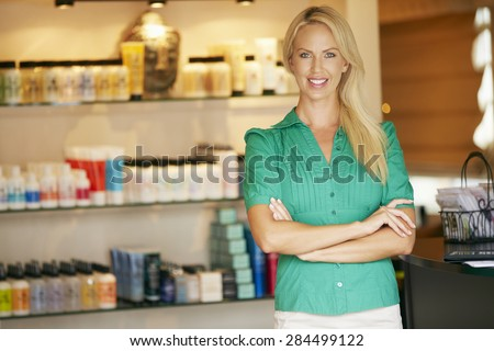 Portrait Beauty Product Shop Manager - stock photo