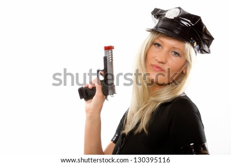 Portrait blonde female police with gun isolated on the white background