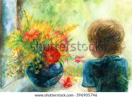 Portrait boy and bouquet.Window and flowers.Little boy watching the city through the window in summer day.Watercolor hand drawn illustration. - stock photo