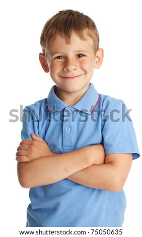 Portrait boy isolated on white - stock photo