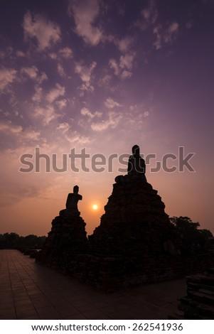 Portrait Buddha Image at Ayuthaya, Thailand in silhouette scene - stock photo