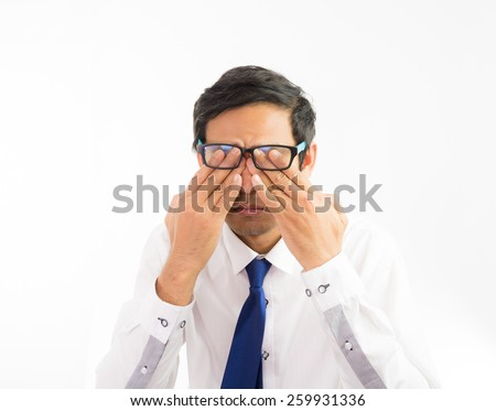 Portrait businessman headache migraine isolate on over white background - stock photo