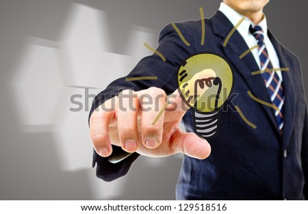 Portrait businessman with touch icon concept in the world market share - stock photo