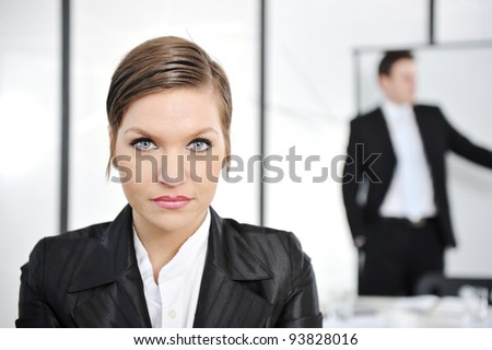 Portrait businesswoman in business presentation at office - stock photo