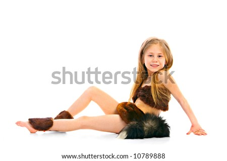 portrait child in fancy dress on white background