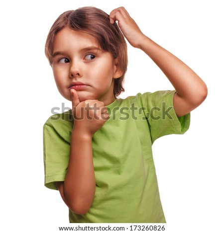 Portrait child to think idea of �¢??�¢??problem look toward confused brunette child scratching his head thinking isolated on white background large - stock photo