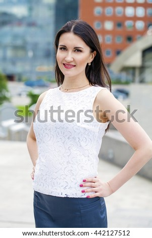 Portrait close up of young beautiful brunette woman, summer outdoors
