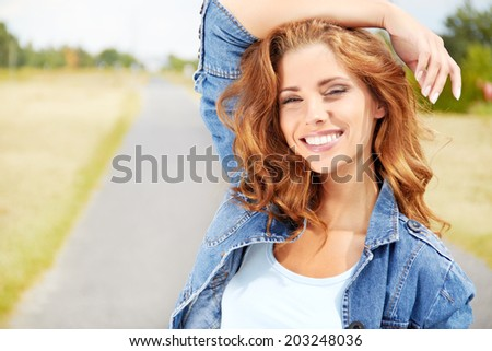 Portrait close up of young beautiful natural woman - stock photo