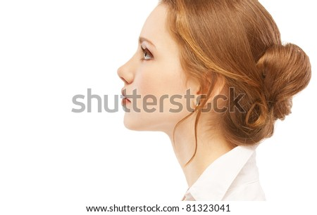 Portrait close up profile of young woman, isolated on white background.