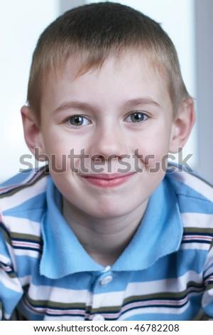 Portrait close up the small beautiful boy - stock photo