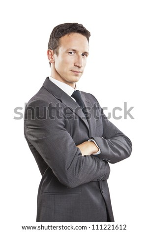 Portrait cool young businessman, isolated on white background - stock photo