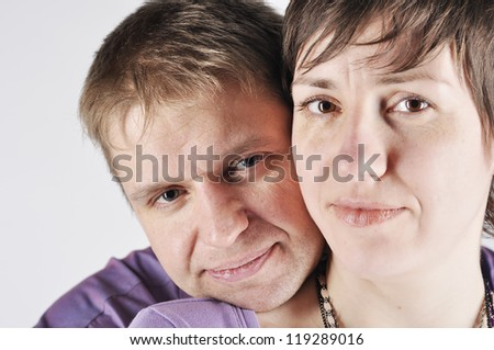 Portrait couple on white background