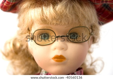 portrait doll with glasses - stock photo