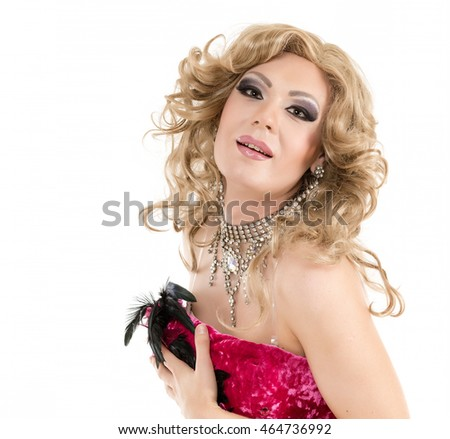 Portrait Drag Queen in Red Evening Dress Performing, on white background